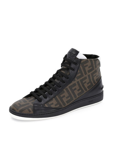 Fendi Zucca High-Top Leather Sneaker, Brown/Black