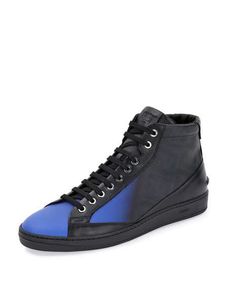 Fendi Zucca Ombre Leather High-Top Sneaker, Neon Blue