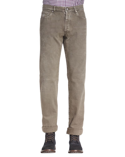 Brunello Cucinelli Five-Pocket Colored Denim Jeans, Mocha