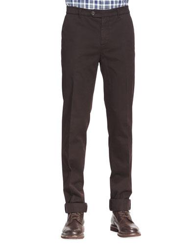 Brunello Cucinelli Cotton Flat-Front Pants, Ebony