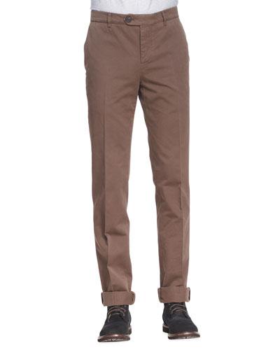 Brunello Cucinelli Cotton Flat-Front Pants, Tobacco