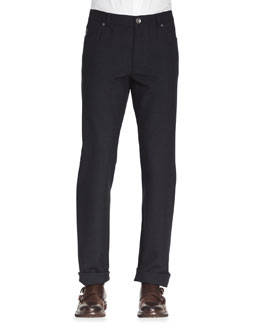 Brunello Cucinelli Five-Pocket Cotton-Wool Pants, Ink