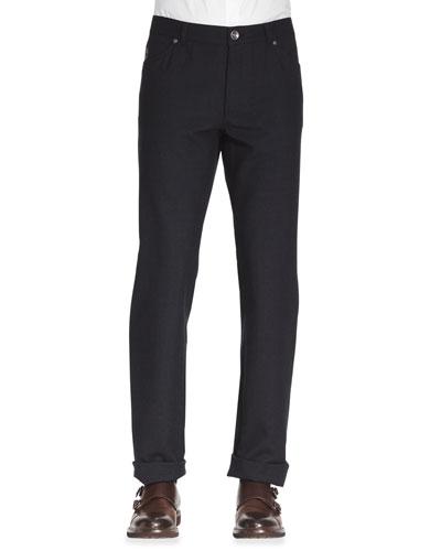 Brunello Cucinelli Five-Pocket Cotton-Wool Pants, Ink