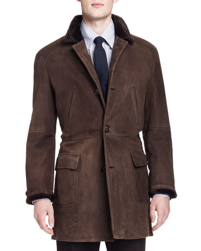 Brunello Cucinelli Shearling Fur-Lined Suede Jacket, Brown