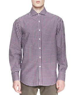 Brunello Cucinelli Twill Micro-Madras Shirt