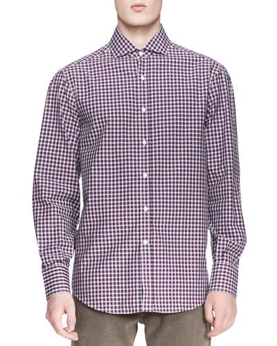 Brunello Cucinelli Twill Micro-Madras Shirt