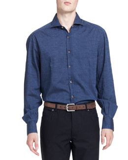 Brunello Cucinelli Washed Denim Dot-Print Shirt, Blue