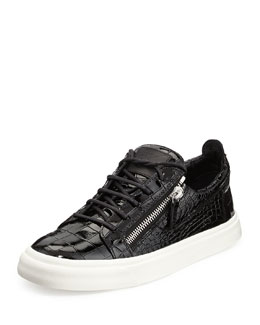 Giuseppe Zanotti Croc-Embossed Patent Low-Top Sneaker, Black