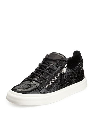 Giuseppe Zanotti Croc-Embossed Patent Low-Top Sneaker, Black
