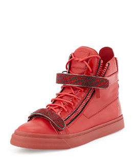 Giuseppe Zanotti Men's Crystal-Strap High-Top Sneaker, Red