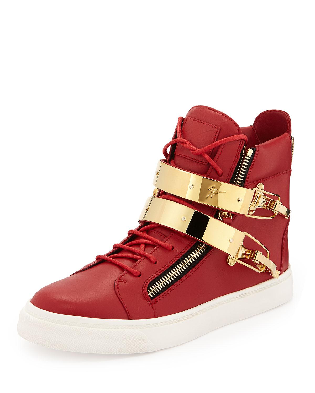 3eb502a68151e Giuseppe Zanotti Men's Ski-Buckle High-Top Sneaker   Neiman Marcus