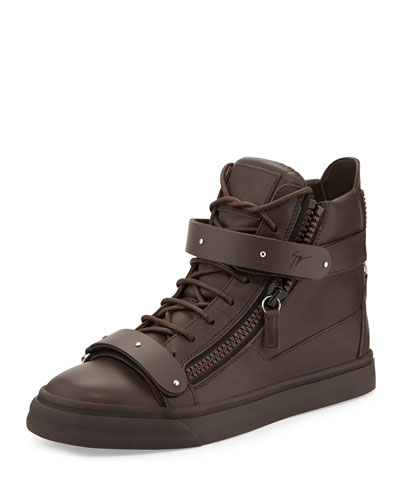 Giuseppe Zanotti Men's Double-Strap High-Top Sneaker, Brown