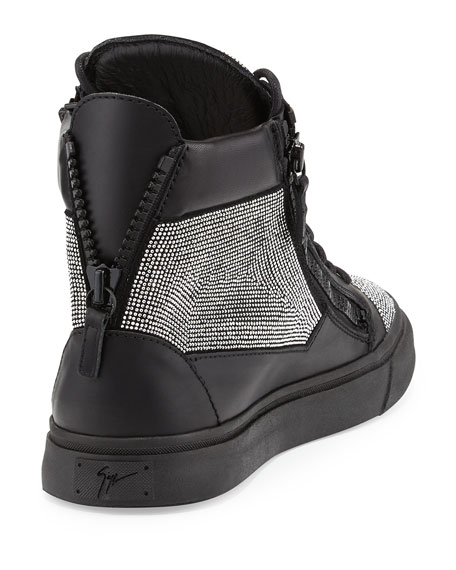 Men's Jeweled Leather High-Top Sneaker, Silver/Black