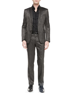 Versace Collection Metallic Two-Piece Suit, Silver