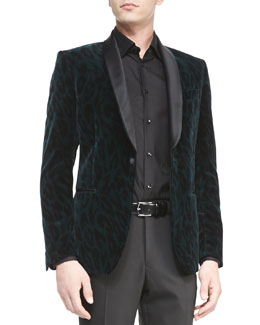 Versace Collection Velvet Animal-Print Jacket