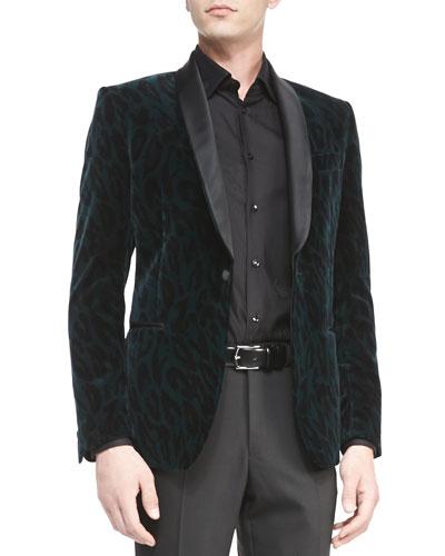 Versace Collection Velvet Animal-Print Jacket