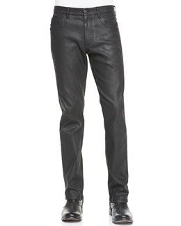 Versace Collection Black Coated 5-Pocket Denim Jeans