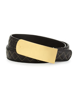 Giuseppe Zanotti Men's Quilted Leather Belt, Black/Gold