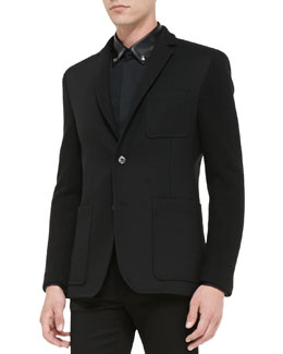 Versace Collection Two-Button Jacket with Knit Sleeves