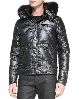 Versace Collection Printed Puffer with Fur-Trimmed Hood