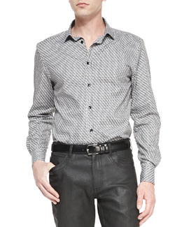 Versace Collection Geometric-Print Shirt, Black/White