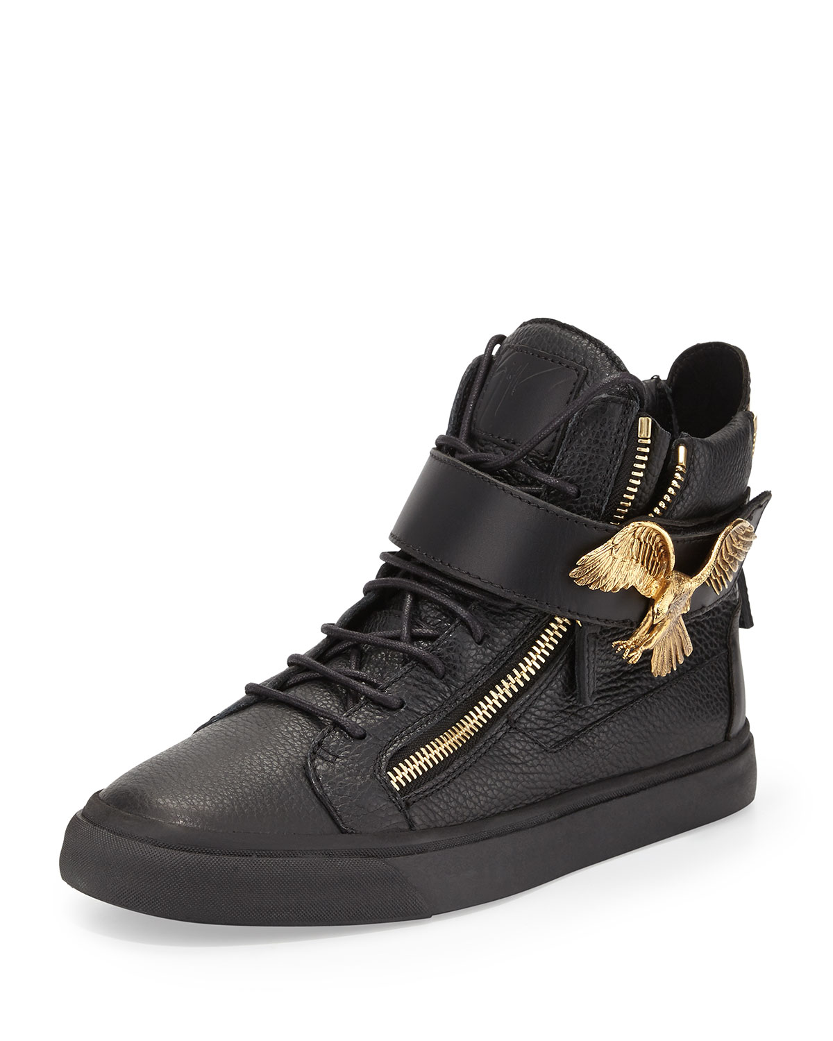 Giuseppe Zanotti Men's Leather High-Top Sneaker with Eagle, Black