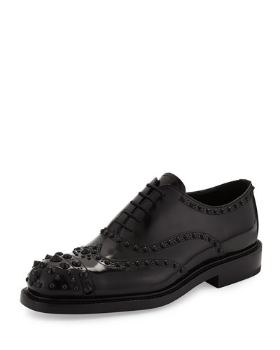 Prada Leather Tonal-Stud Wingtip
