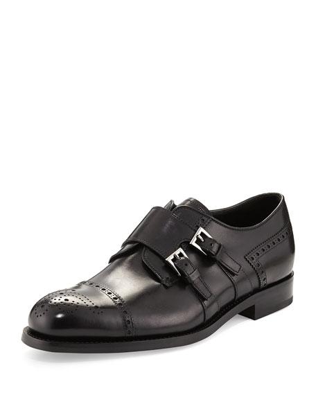 Prada Medallion Leather Double Monk Shoe, Black