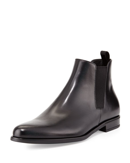Prada Dress Leather Chelsea Boot, Black
