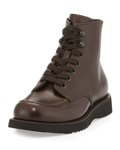 Prada Leather Lace-Up Work Boot, Brown