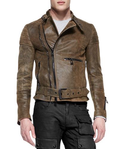 Belstaff Distressed Leather Moto Jacket, Brown