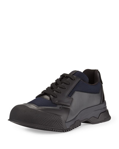 Prada Nylon Runway Trainer Sneaker, Black/Blue