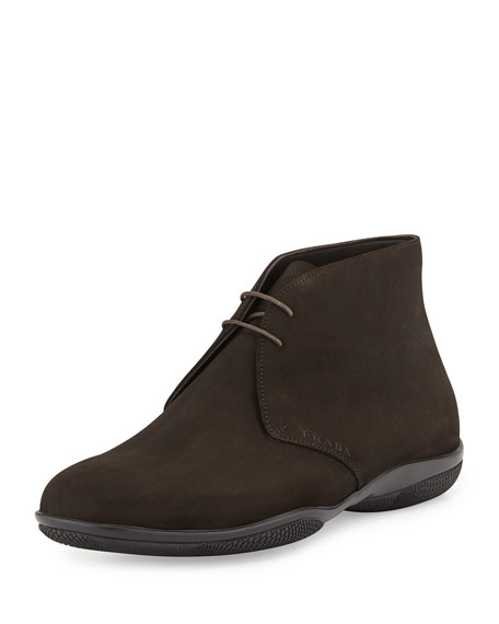 Prada Suede Chukka Boot, Brown (Moro)