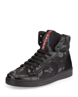 Prada Camo-Print High-Top Sneaker, Blue