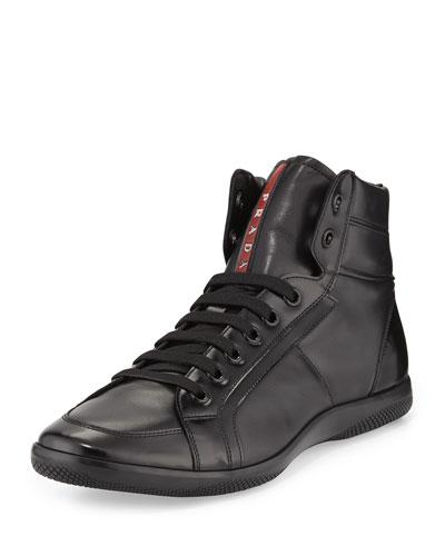 Prada Napa Leather High-Top Sneaker, Black