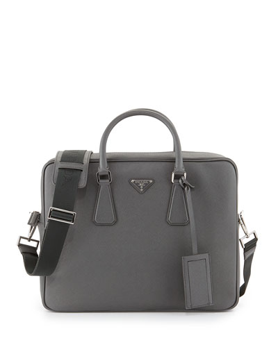 Saffiano Logo Briefcase with Shoulder Strap, Gray