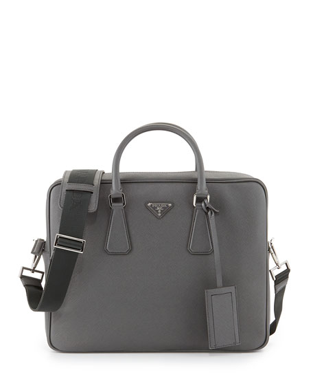 Prada Saffiano Logo Briefcase with Shoulder Strap, Gray