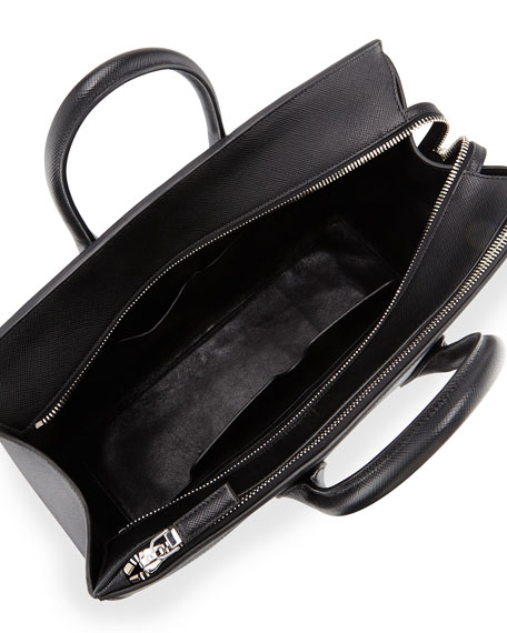 Prada Men\u0026#39;s Saffiano Zip-Top Shopper Bag, Black (Nero)