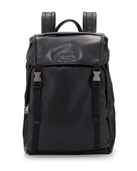 Prada Men's Leather Double-Buckle Backpack, Black