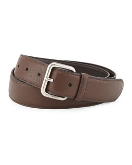 Prada Daino Silver-Buckle Belt, Brown