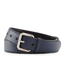 Prada Dino Silver-Buckle Belt, Blue