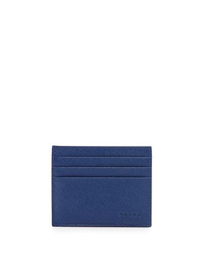 Prada Saffiano Card Case, Blue