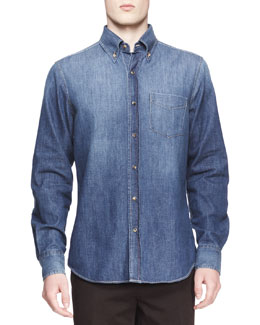 Brunello Cucinelli Faded Denim Italian-Fit Western Shirt