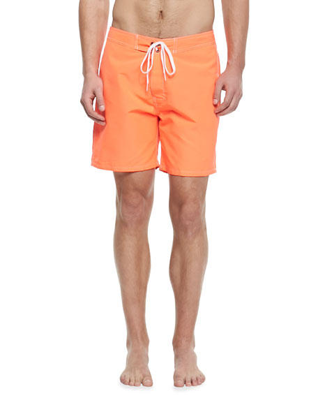 "Long 17"" Rainbow Swim Trunks, Orange"