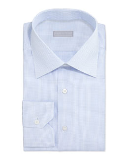 Stefano Ricci Graph-Check Dress Shirt, Light Blue