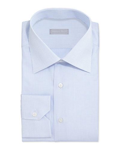 Graph-Check Dress Shirt, Light Blue
