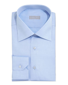 Stefano Ricci Basic Solid Barrel-Cuff Dress Shirt, Blue