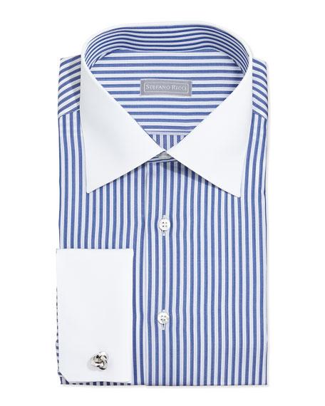 Stefano Ricci Contrast Stripe French Cuff Dress Shirt