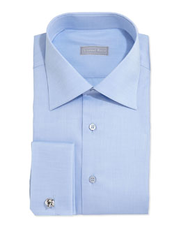 Stefano Ricci Basic French-Cuff Solid Dress Shirt, Blue