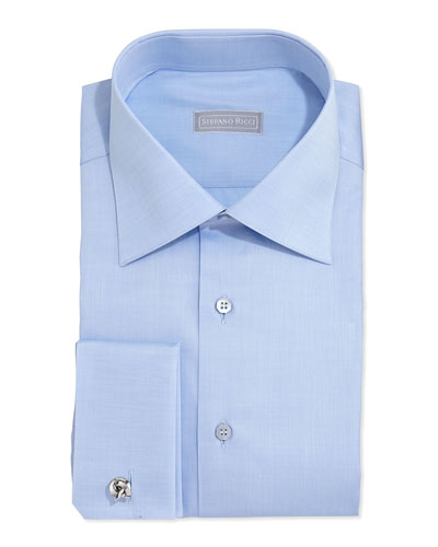 Basic French-Cuff Solid Dress Shirt, Blue